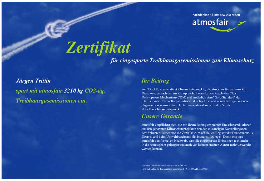 Atmosfair-Zertifikat Jürgen Trittin