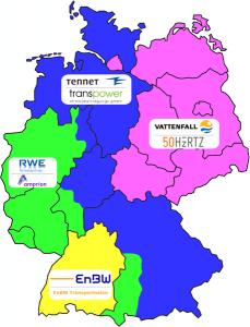 Regelzonen deutscher Übertragungsnetzbetreiber (Grafik von Ice gixxe unter CC-Lizenz)